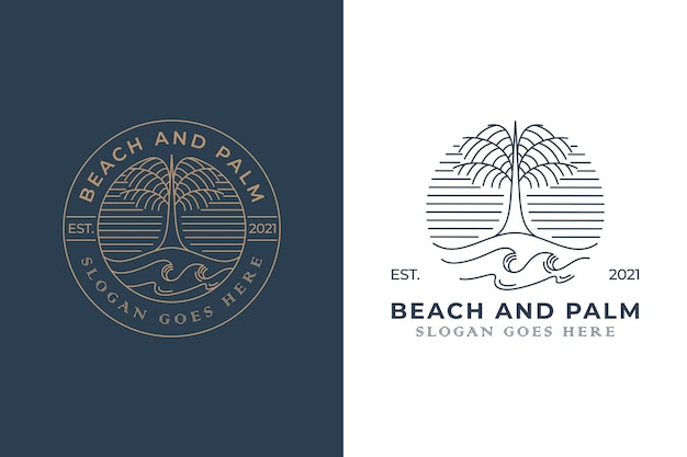 Vintage retro badge logo of beach palm with two versions
