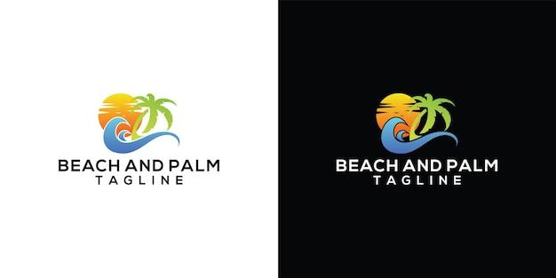 Vintage retro badge logo of palm and beach