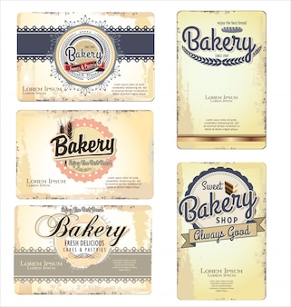 Vintage retro bakery labels and old paper