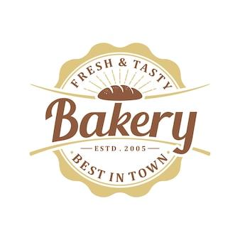 빈티지 레트로 베이커리 로고는 스탬프 또는 상점 로고에 사용할 수 있습니다.