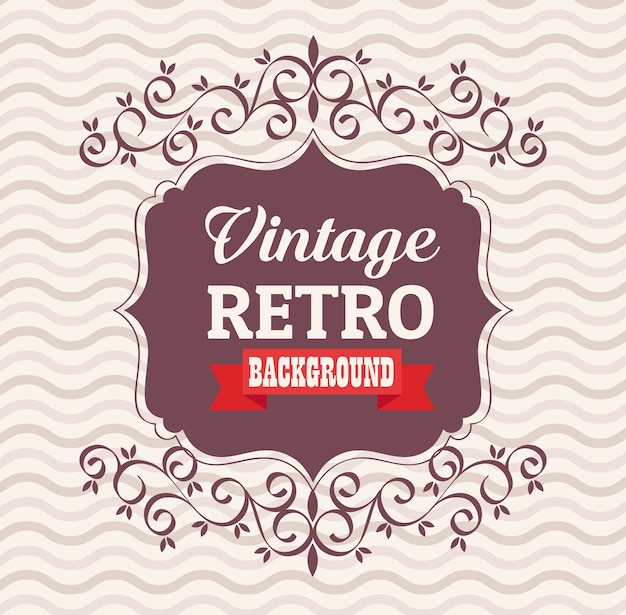 Vintage retro banner with elegant frame and ribbon design