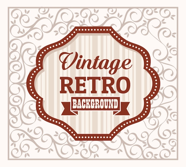 Vintage retro banner with elegant wooden frame design