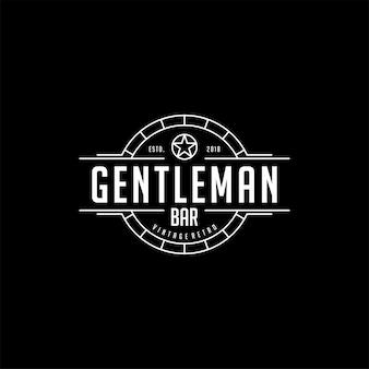 Дизайн логотипа джентльмена винтажного ретро-клуба клуба