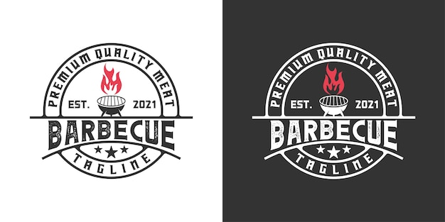 Vintage retro barbecue grill, restaurant with flame logo design inspiration