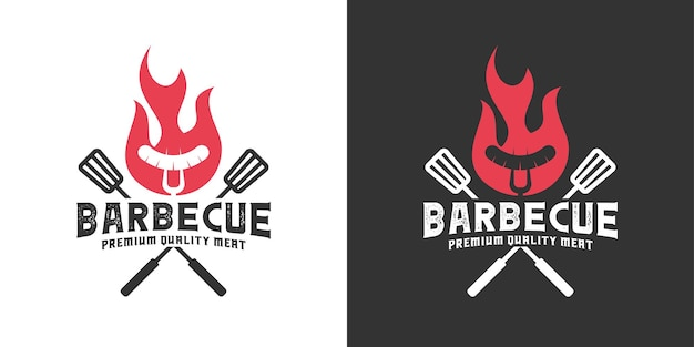 Vintage retro barbecue grill with flame logo design inspiration