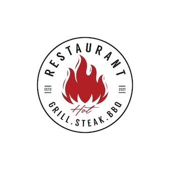 Винтажные ретро барбекю гриль барбекю этикетка штамп дизайн логотипа вектор