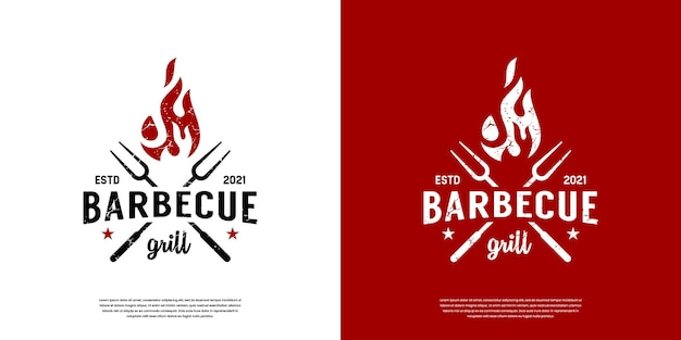 Vintage retro bbq grill,  label stamp logo design