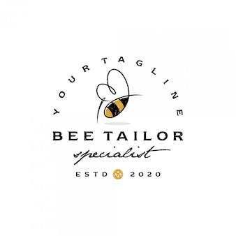 Vintage retro bee sting and tailor emblem logo premium