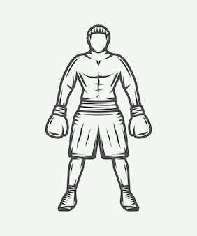 Vintage retro boxer illustration