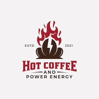 Vintage retro business coffee shop with hot fire and thunderbolt power symbol