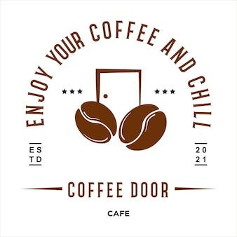 ヴィンテージレトロカフェロゴ2つのコーヒー豆とドアのベクトル図