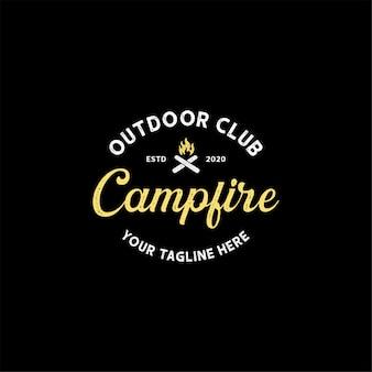 Vintage retro campfire bonfire logo