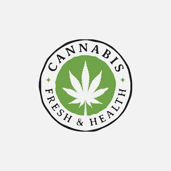 ヴィンテージレトロな大麻マリファナ大麻葉ファーム栽培ロゴデザイン