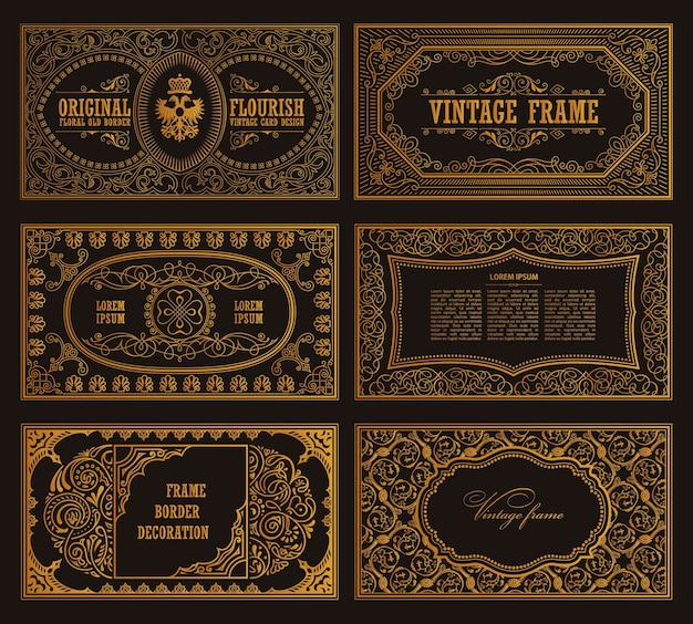 Vintage retro cards and golden template calligraphic frames