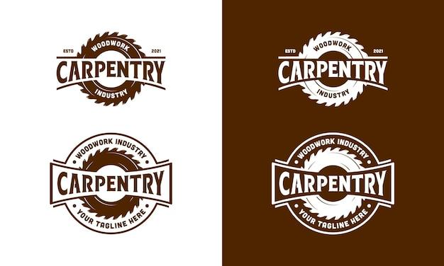 Vintage retro carpentry, woodworking, lumberjack logo design template inspiration