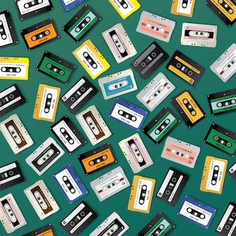 Vintage retro cassette tape composition