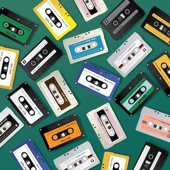 Vintage retro cassette tape pattern design template vector illustration