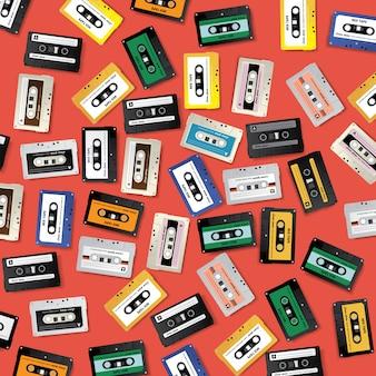빈티지 레트로 카세트 테이프 패턴 디자인 서식 파일