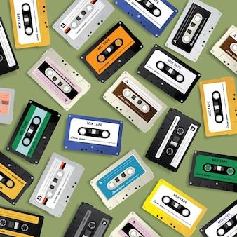 Vintage retro cassette tape pattern