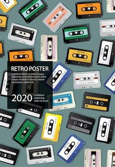 Урожай ретро кассеты шаблон плаката дизайн иллюстрация