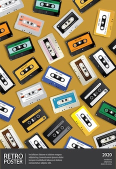 Vintage retro cassette tape poster design template illustration