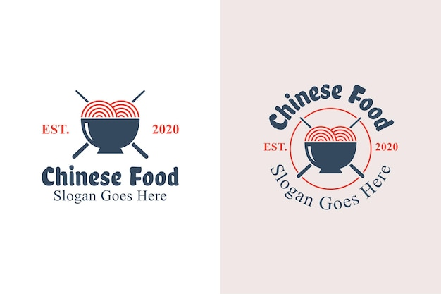 Vintage retro chinese food logo design. noodle and mie ramen logo with two versions