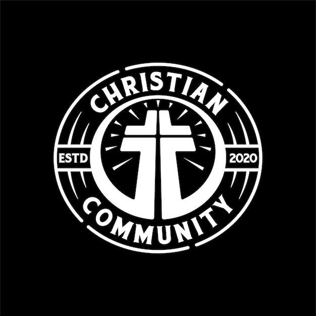 빈티지 복고 기독교 커뮤니티 배지 로고 스탬프 디자인 서식 파일