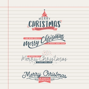 Vintage retro christmas greeting lettering collection.