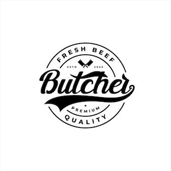 Vintage retro circular badge emblem label sticker butchery logo design vector with knife icon