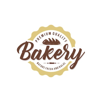 빈티지 레트로 클래식 베이커리 베이크 숍 라벨 스티커 로고 디자인 템플릿