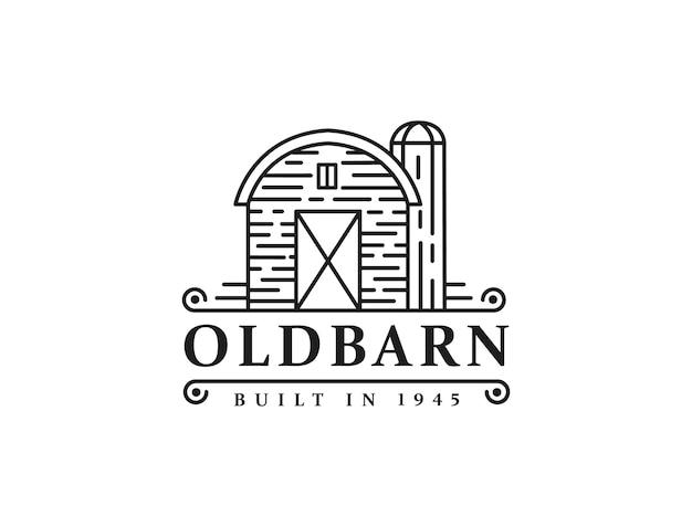 Урожай ретро классический старый сарай фермы логотип значок вектор шаблон с дизайном в стиле арт линии на белом фоне
