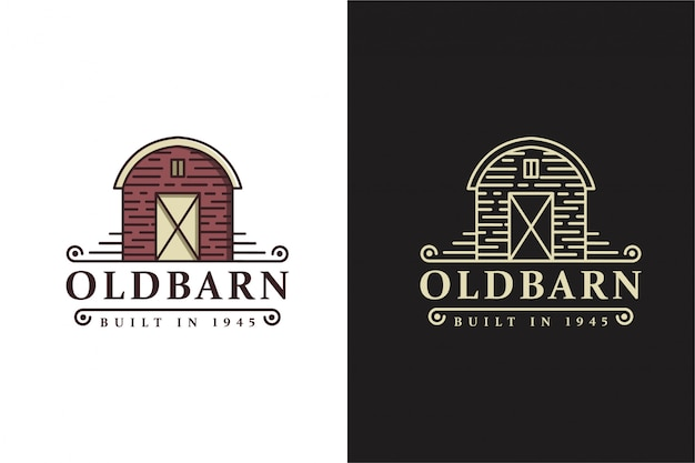 Vintage retro classic old barn farm logo template with line art style design