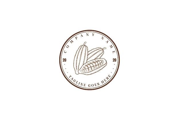 ヴィンテージレトロココアカカオチョコレートファーム製品ラベルロゴデザインベクトル