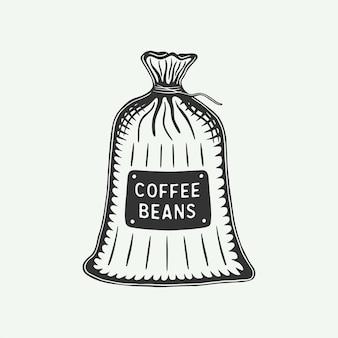 Винтажный ретро-кофейный пакет можно использовать для этикетки