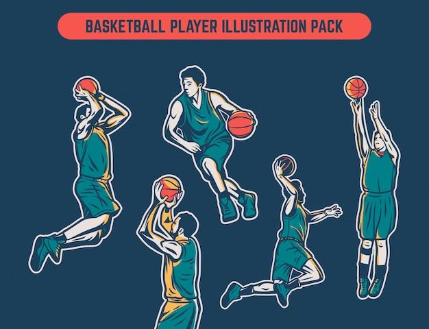 Vintage retro colored illustration pack of basketball player