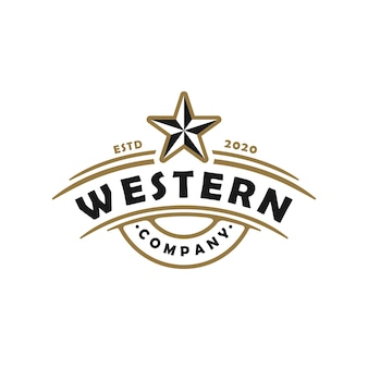 빈티지 레트로 컨트리 웨스트 텍사스 엠블럼 로고 디자인