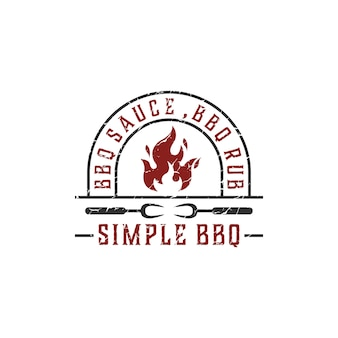Vintage retro countryside barbeque grill, label stamp logo design