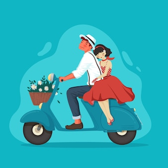 Vintage retro couple on vespa