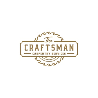 Vintage retro craftsman carpentry logo