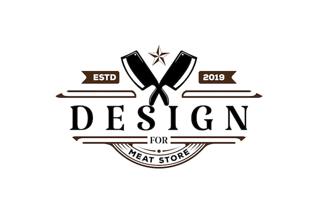 Vintage retro crossed cleaver for butcher meat store or bbq barbecue steak grill logo design vector