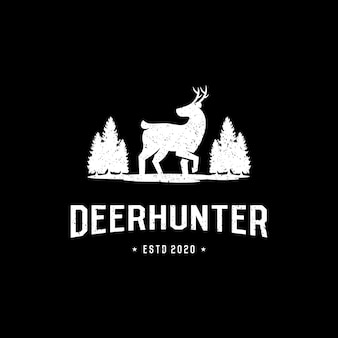 Vintage retro deer hunter logo