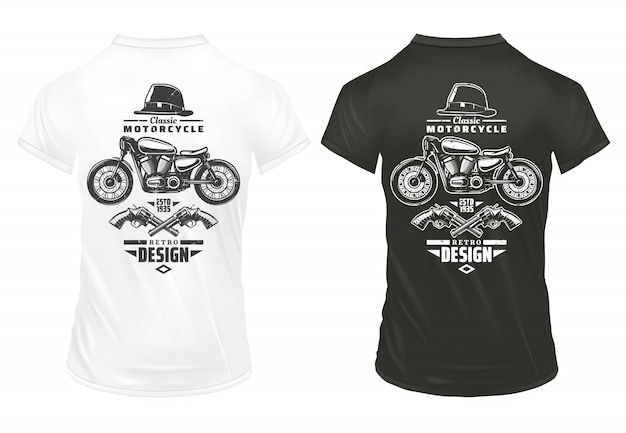 Винтажный ретро-дизайн печатает шаблон с надписями в классической мотоциклетной шляпе джентльмена со скрещенными пистолетами на изолированных рубашках