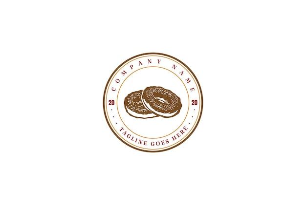 빈티지 레트로 도넛 베이커리 라벨 스탬프 로고 디자인 벡터