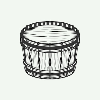 Винтажный ретро барабан в стиле гравюры на дереве