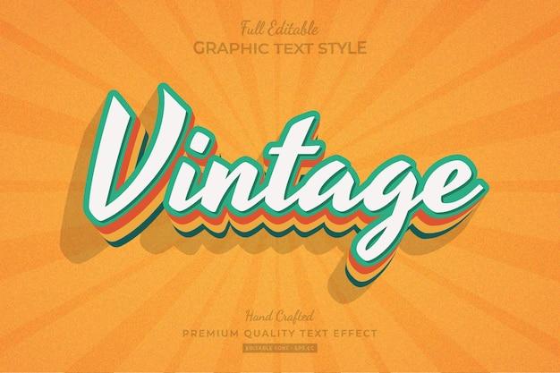 Vintage retro editable premium text effect font style
