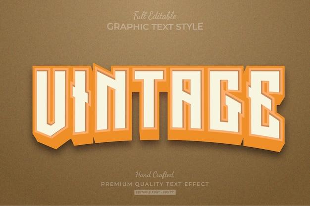 Vintage retro editable text effect font style