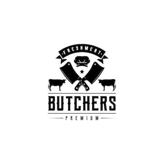 ヴィンテージレトロエンブレムバッジ肉屋のロゴデザインベクトル
