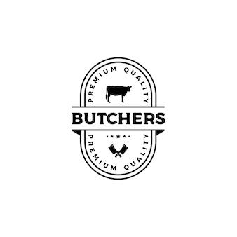 ヴィンテージレトロエンブレムバッジステッカー肉屋ロゴデザインベクトル