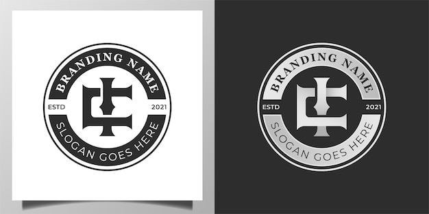 Vintage retro emblem, badge with initial letter c, ci elegant logo for your brand identity