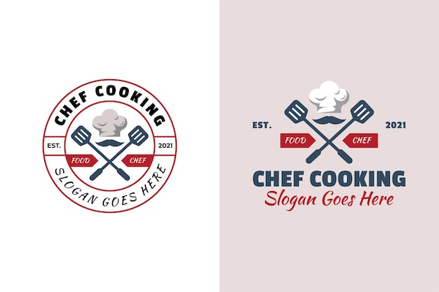 Vintage retro and emblem logo of chef cooking restaurant food symbol